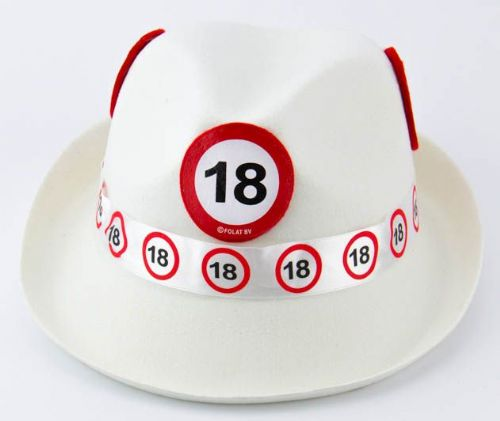 Traffic Sign 18th Party White Trilby Hat Birthday Novelty Gift Favour Favor